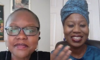 Roslyn Akombe from DPPA moderates the session with QUNO's UN Representative, Rachel Madenyika