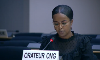 Human Rights and Refugees Programme Assistant Najmah Ali delivering oral statement.